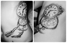 dreamcatcher clock tattoo black & grey