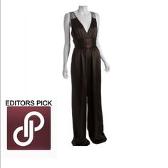 HPBadgley Mischka jumpsuit Brown silk stunning palazzo pant one piece. Super long! Please note: the item in the image has beading on the shoulders and mine has same color across the shoulder. Badgley Mischka Dresses