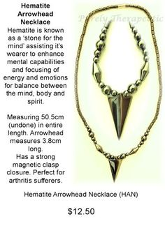 Hematite Arrowhead Necklace #jewellery #male #Necklaces