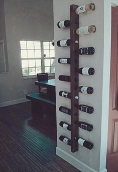 - Wine Rack 16 Bottle Ladder Wine Rack Wood Wine rack Wine Rack Wall Mounted Dining Room Wall Decor K - Dining Room Wall Decor, Kitchen Decor, Room Decor, Kitchen Rack, Kitchen Wood, Decorating Kitchen, Dining Rooms, Kitchen Dining, Kitchen Furniture