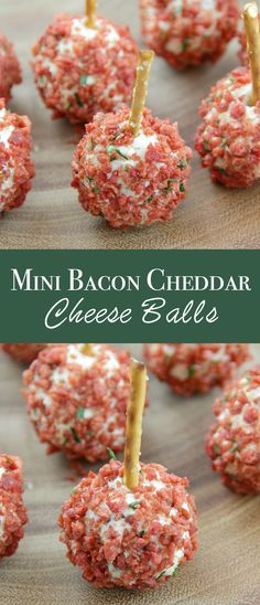 Mini Bacon Cheddar Cheese Balls - The perfect holiday appetizer! Mini cheese balls made with cheddar cheese, chopped walnuts, chives, and bacon! Finger Food Appetizers, Yummy Appetizers, Finger Foods, Appetizer Recipes, Snack Recipes, Cranberry Cream Cheese Dip, Best Superbowl Food, Cold Sandwiches, White Cheddar Cheese