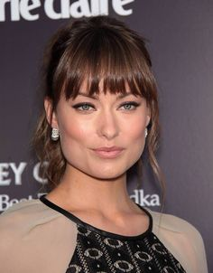 Olivia Wilde hairstyle for square face Eye skimming bangs layered at the ends makes them look lighter