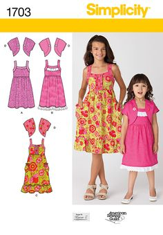 Simplicity : 1703 Girl's Sundress  Looks like it would be quick and simple to sew for A & S