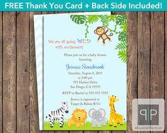 INSTANT DOWNLOAD, Editable Jungle Baby Shower Invitation, Editable Safari Baby Shower Invitation, Jungle Animals Invite, Blue, Adobe Reader