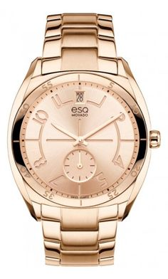 "Women's ESQ Origin watch, rose gold ion-plated stainless steel case with engraved bezel and ""e"" logo crown, rose gold-toned dial and subdial with rose gold-toned Arabic numerals and markers, brushed and polished rose gold-toned stainless steel link bracelet with deployment clasp, Swiss quartz movement, mineral crystal, water resistant to 3 ATM"