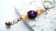 Purple Gold Pearl Keychain Chunky Beaded Key Ring Mardi by mscenna