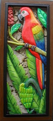 Macaw in the banana tree. Ceramic Painting, Painting On Wood, Emboss Painting, Baby Doll Bed, Clay Birds, Outdoor Wall Art, Intarsia Woodworking, Mural Wall Art, Hindu Art