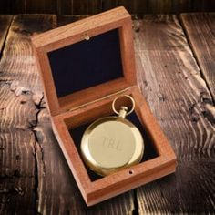 Personalized Compass in Wooden Gift Box