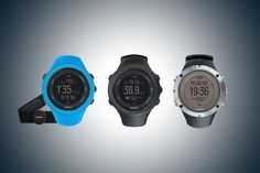 TRACK YORUSELF: (l-r) the Suunto Ambit3 Sport, Ambit3 Peak Black and Ambit3 Peak Sapphire all come with built in GPS and a heart rate monitor accessory.