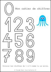 Cahier de coloriage des chiffres Colorier les chiffres en maternelle grands chiffres à imprimer gratuit