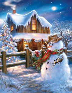 Put on your cowboy hat and boots - The Country Christmas is here! This 500 piece puzzle depicts a beautiful night scene with a wooden cabin, and a snowman dressed up with a cowboy hat - The perfect puzzle to get you into the Christmas spirit! Vintage Christmas Cards, Country Christmas, Christmas Pictures, Christmas Snowman, Christmas Holidays, Christmas Decorations, Merry Christmas, Christmas Puzzle, Winter Christmas Scenes