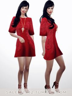Salem2342: Embroidered red lace dress • Sims 4 Downloads