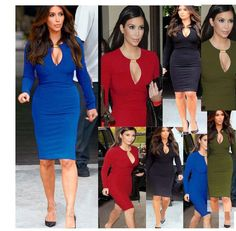 Kim Kardashian 2017 Winter Autumn Long Sleeve Pee Hole Bodycon Dress Bodysuit #Adogirl #BallGown #Clubwear