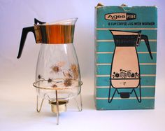 Vintage Agee Pyrex Coffee Jug with warmer and box