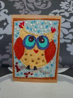 OOAK postal greeting card, Patchwork Christmas owl greeting card, Owl unique card, Textile art card, Thank you card, Textile greeting card by RazVihreno on Etsy