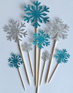 Snowflake Cake Toppers, Silver and Blue Cake Toppers, Birthday Cake Toppers…