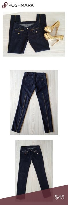 """Bebe Jeans Gold tone Zippers Embellished * Brand: Bebe * Style: Skinny Zipper Jeans * Size: 28, USA 6  * Color: Dark Wash  * Fabric: Cotton-Spandex * Details: 2,front Faux Zipper pockets, 2 front Flap pockets, 2 back pockets, 25"""" gold-tone zippers down the back legs,  * Measurements: APPROX.  * Waist-low: 16"""" flat across 31/32"""" above hips.  * Hips: 17.5"""" flat across 35/36""""  * Rise: 7.5""""  * Inseam: 31""""  * Condition: Excellent, pre-washed, SAMPLE PROTO Jeans see photos. bebe Jeans Skinny"""