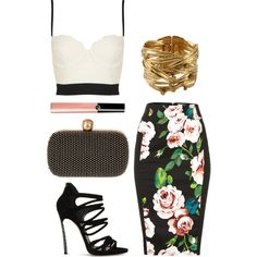 """Crop Top & Pencil Skirt"" by priyankakhosla on Polyvore"