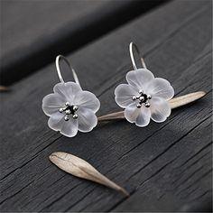 Argent Sterling 925 Austrian Crystal Fleur Forme Goujon Boucles D/'oreilles Pour Femmes Charme