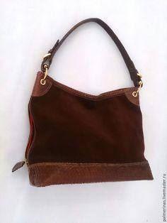 Купить Замшевая сумка - коричневый, однотонный, замшевая сумка, сумка ручной работы, сумка