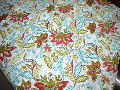 Block Printed Soft Cotton Fabric - Indian Cotton Fabric by the Yard - Hand printed Indian Fabric in Mint, Olive Green and Dark Green