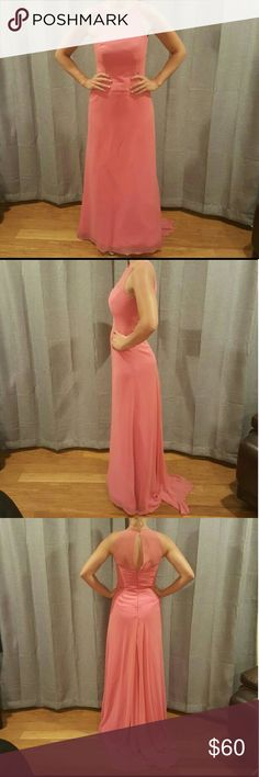 """Lazaro Dress Worn once at a wedding. Pink/salmon dress. Full length with small train has a bustle in back u can use (shown with train down). There is a small tear (shown in last pic) at top of neck. A good seamstress can fix this or turn it into a strapless dress. That's what I was planning to do but never got around to it. It says size 10 but Lazaro runs small. I am usually a 6. This dress was originally over $200.  I am 5'7"""" 135lbs for photo reference Shoes listed in separate post lazaro…"""