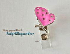 Whimsy butterfly with heart shape wings-pink and bling-  Badge Clip BB387. $10.00, via Etsy.