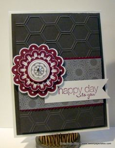This is my tissue box inspired card. The flower is the stamp, Quint-Essential Flower and I used 4 different size Stampin' Up! punches to punch the flower layers.   www.sweetpaperbliss.com