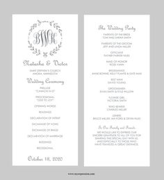 Wedding Program Template – Tea Length - Gray Leaf Monogram - Instant Download - Editable MS Word File