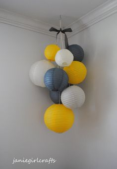 Grey, Yellow, and Ivory Large Paper Lantern Balloon Mobile - Paper Diy Blue Gray Bedroom, Grey Room, Cosy Interior, Yellow Nursery, Church Nursery, Ideas Geniales, Grey Yellow, Pink Purple, Scandinavian Home