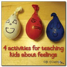 "4 feelings activities for kids >> Gift of Curiosity Pictured ""Feelings stress balls"" made from play dough and balloons, and rice and balloons."