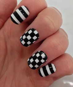 theillustratednail:  Black & White. Checks & Stripes.