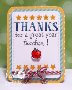 CUTE TEACHER CARD using small stitched journal card Lawn Fawn