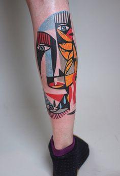 Peter Aurisch's Bright And Bold Cubist Tattoos