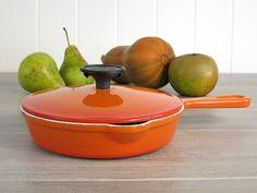 Vintage Cousances 16 Orange Skillet with Lid - Enameled Cast Iron Le Creuset France Skillet - Cast Iron Sauté Pan with Removable Knob Cover