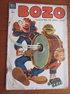 Bozo the Clown comic book from the 1950s by Dell Comics. Issue no. 551    Appears to be a water stain on the front and back cover. Little tears on back
