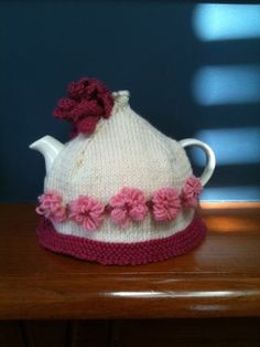 Top Knot tea cosy knitted by me!