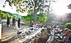 A beautiful wedding at Roswell River Landing - love the idea of having the ceremony on the deck.
