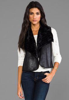 ELLA MOSS Nico Faux Fur Vest in Black