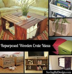 Grab some crates at your local store and get to work on some of these wooden crate ideas. You'll find a fantastic DIY idea you're sure to love!   SavingByDesign.com