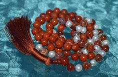 RARE RED FIRE AGATE WITH CALMING FRESH WATER PAERLS AND RED JASPER , JAPA JAAP MANTRA MALA TOP GRADE (108+1) 8 MM BEADS WITH 925 STERLING SILVER SPACERS. HINDU BUDDHIST PRAYER KARMA BEADS SUBHA ROSARY