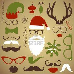 Retro Party set - Kerstman baard, hoeden, hertengeweien, boog, glazen, lippen, snorren Stockfoto