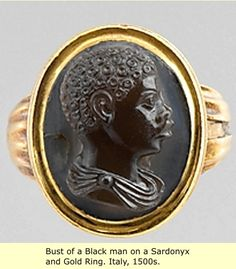 Bust of a black man on a sardonyx and gold ring. Italy, 1500s.