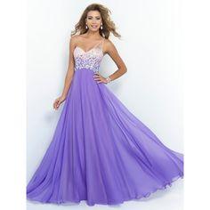 A-line/Princess One-shoulder Sleeveless Crystal Floor-length Chiffon... ($135) ❤ liked on Polyvore featuring dresses, chiffon dress, one shoulder dress, purple prom dresses, sleeveless dress and sleeveless prom dress