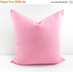 SALE Pink Pillow. Solid color.Baby Pink pillow cover. Sham