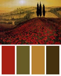 Poppy Field Color Palette (Poppy Field art print by Steve Thoms) Colour Schemes, Color Combos, Color Patterns, Colour Palettes, World Of Color, Color Of Life, Color Blending, Color Mixing, Design Seeds