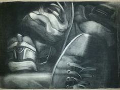 """Charcoal reversed drawing.  """"A Mile in My Shoes"""""""