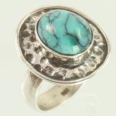 Manufacturer Natural TURQUOISE Gemstone 925 Solid Sterling Silver Ring Size US 7 #Unbranded