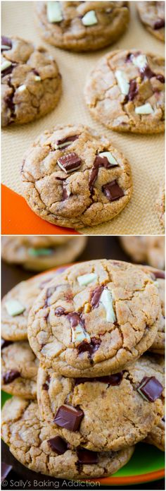 Super soft cookies flavored with delicious mocha and mint chocolate chip. You'll want to double the recipe, they disappear FAST!