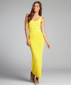Torn by Ronny Kobo: yellow stretch pointelle 'Alice' column tank dress  $49 - Make the competition show their 'cowardice' side when you step out in this sexy number.